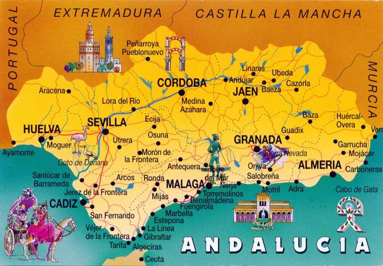 mappa Andalusia, come organizzare il tour