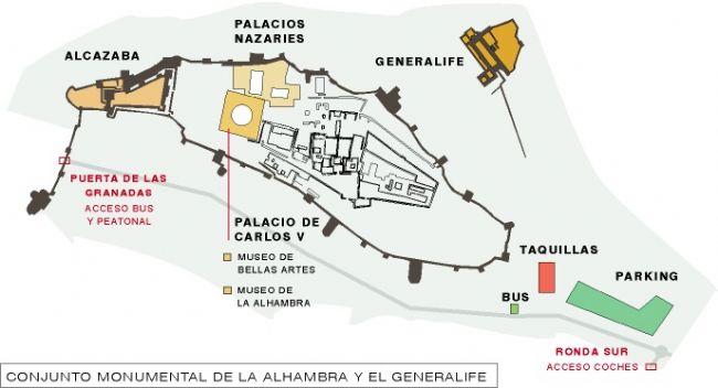 mappa Alhambra di Granada