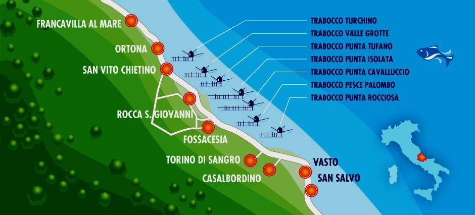 Mappa Costa dei Trabocchi Abruzzo