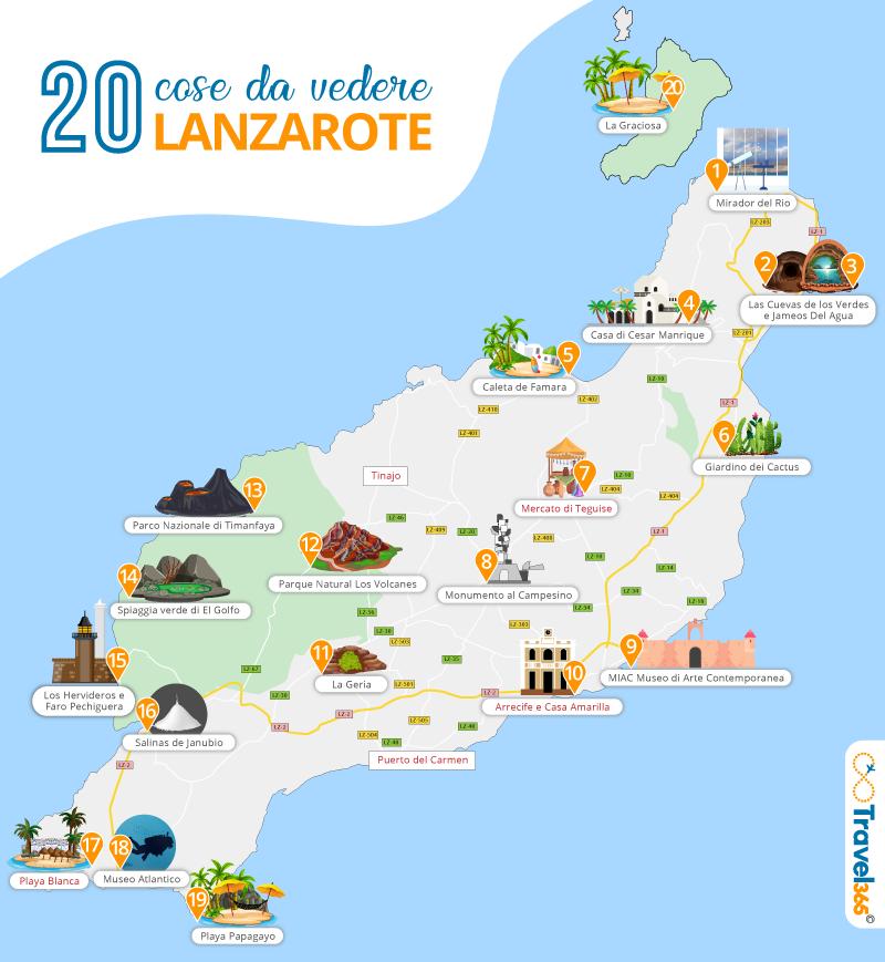 Mappa Lanzarote - cosa vedere